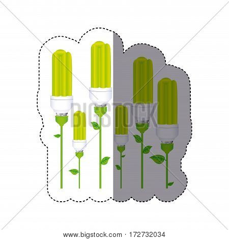 color sticker silhouette with set of fluorescent lamp with stem and leaves vector illustration