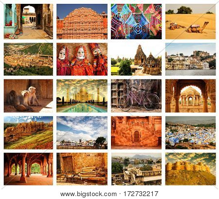 Collage of 20 images from famous location in Rajasthan, north India