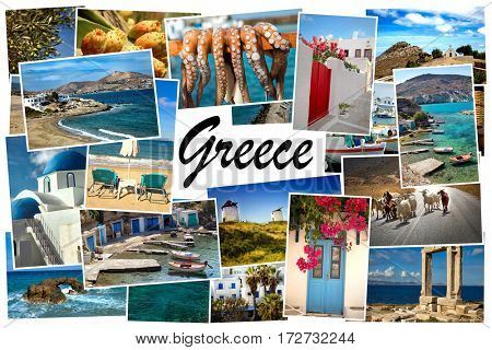 Collage of images from famous location in the cyclades, Greece with the word Greece on white in the middle