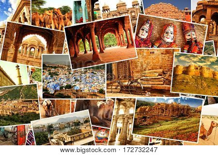 Collage of images from famous location in Rajasthan, north India