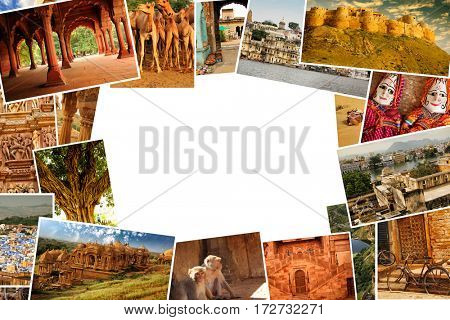 Collage of images from famous location in Rajasthan, India with copy space in the middle
