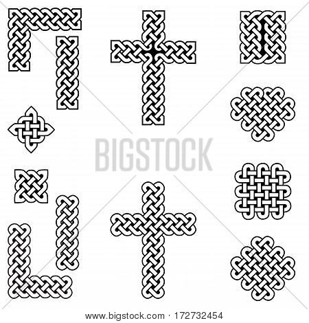 Celtic style endless knot symbols including border, line, heart, cross, curvy squares in white, with black filling between knots inspired by Irish St Patrick's Day, and Irish and Scottish Culture