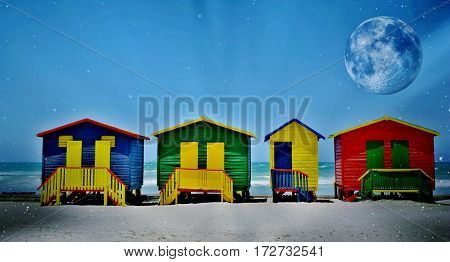 ColorfulLandscape with colorful changing huts on a beach in Muizenberg
