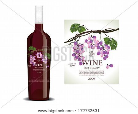 Conceptual transparent label for red wine on a bottle