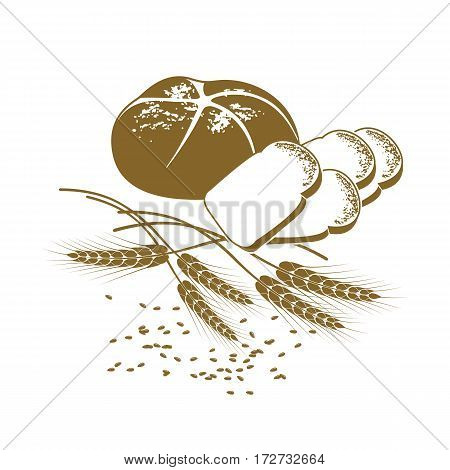 Vector illustration of rye bread toast bread and wheat on the white background