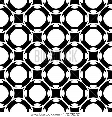 Vector seamless pattern, abstract black & white repeat texture. Simple geometric figures, perforated circles, rounded squares. Endless monochrome background. Design for tileable print, decoration, textile, furniture, cloth, fabric, digital, web