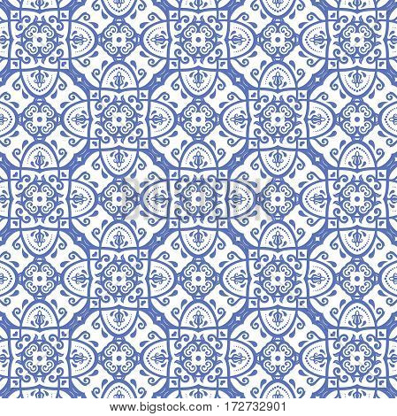 Damask vector classic blue an white pattern. Seamless abstract background with repeating elements. Orient background