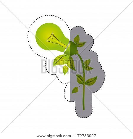color sticker silhouette with light bulb with leaves and inclined to left side vector illustration