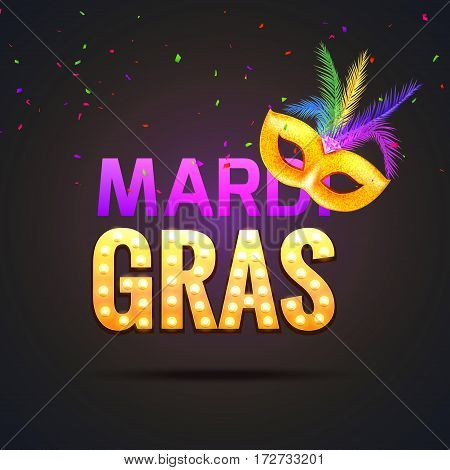Mardi gras carnival festival celebration. Holiday colorful fat tuesday. Happy mardi gras masquerade party poster design.