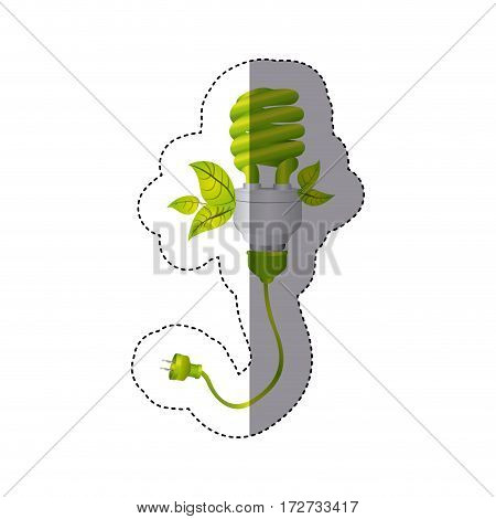 color sticker silhouette with spiral fluorescent lamp with leaves and plug vector illustration