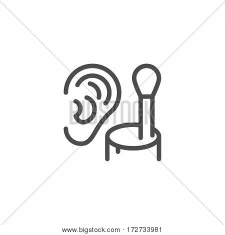 Cotton ear stick line icon isolated on white. Vector illustration
