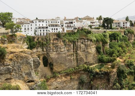 Ronda (Andalucia Spain): view of the historic city over the canyon