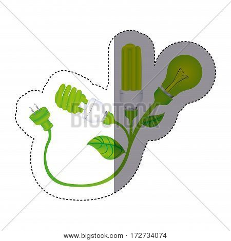 color sticker silhouette with lamps with leaves and plug vector illustration