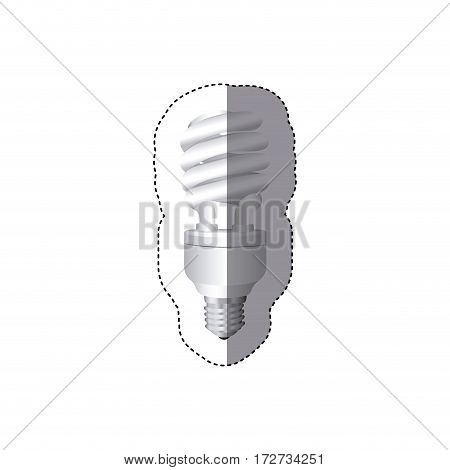 grayscale sticker silhouette with spiral fluorescent lamp vector illustration