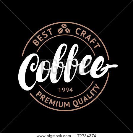 Coffee Shop handwritten lettering logo, badge or label. Modern brush calligraphy. Vintage retro style. Isolated on black background. Vector illustration.