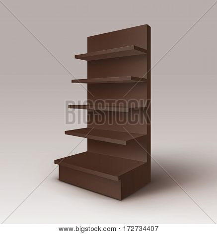Vector Black Brown Empty Exhibition Trade Stand Shop Rack with Shelves Storefront Isolated on Background