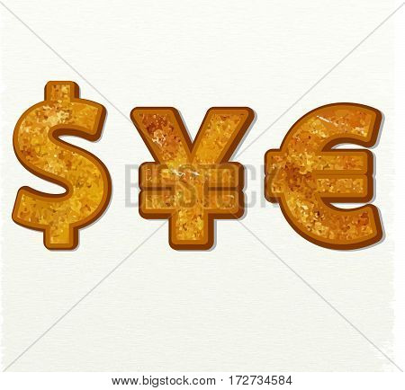 Dollar, euro and yen currency vector signs gold on white background for app icon or website decoration