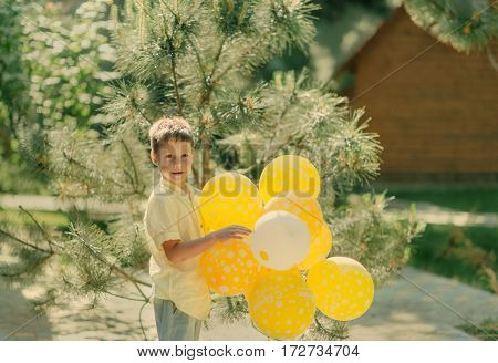 sunny day outdoors pine boy with yellow balloons