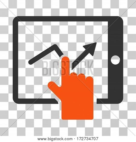 Tap Trend On PDA icon. Vector illustration style is flat iconic bicolor symbol orange and gray colors transparent background. Designed for web and software interfaces.