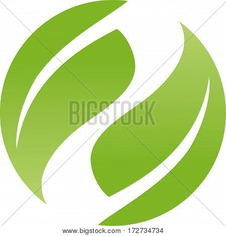 Two leaves in green, naturopath and nature logo