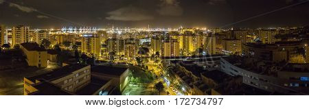 Panoramic night view of Algeciras the port and the rock of gibraltar Cadiz Spain