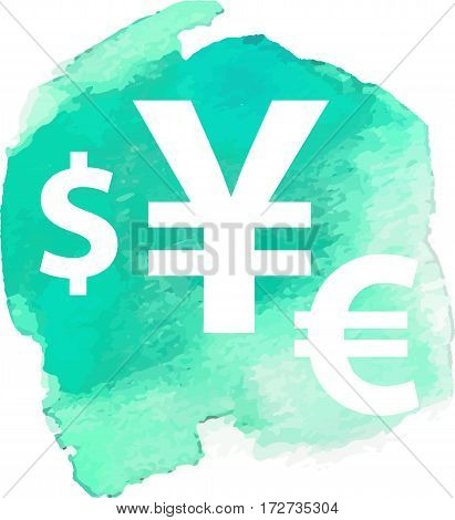 Dollar, euro, pound and yen currency vector signs on watercolor background isolated on white background for app icon or website decoration