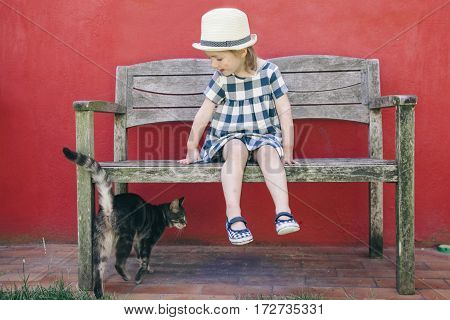 adorable little girl sitting on a wooden bench playing with a cat at home