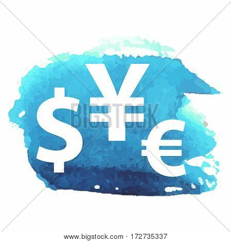 Dollar, euro, pound and yen currency vector signs on watercolor background for app icon or website decoration