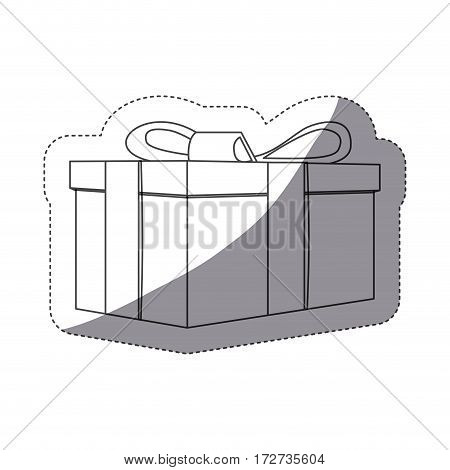 grayscale contour sticker with rectangular gift box vector illustration