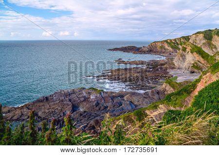 North Devon Coast near Hele Bay. During low tide. UK