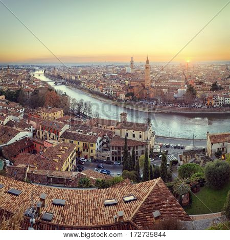 Panorama of Verona historical quarter from viewpoint, Italy
