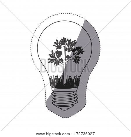 grayscale contour sticker with bulb light and tree with flowers vector illustration
