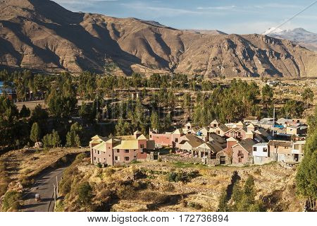View of Chivay town in Arequipa Peru