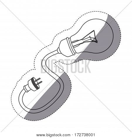grayscale contour sticker with bulb light with plug vector illustration