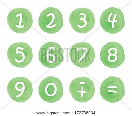 Hand drawn watercolor stickers and badges with numbers figures.Collection of digits. Vector illustration set for graphic and web design.