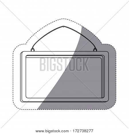 grayscale contour sticker with rectangular frame mirror with chain vector illustration