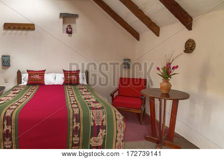 CHIVAY AREQUIPA PERU - NOVEMBER 25 2015: Room interier in a traditional hotel in Chivay Arequipa Peru.