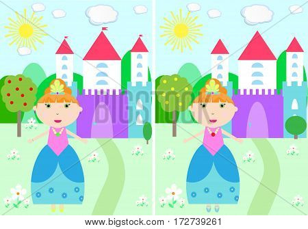 children find 10 differences mystery Princess Castle Vector Illustration