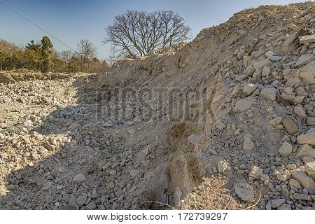 mound of construction site. mountain of sand and clay