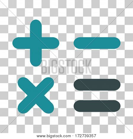 Calculator icon. Vector illustration style is flat iconic bicolor symbol, soft blue colors, transparent background. Designed for web and software interfaces.