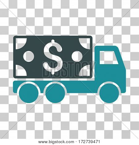 Cash Delivery icon. Vector illustration style is flat iconic bicolor symbol, soft blue colors, transparent background. Designed for web and software interfaces.