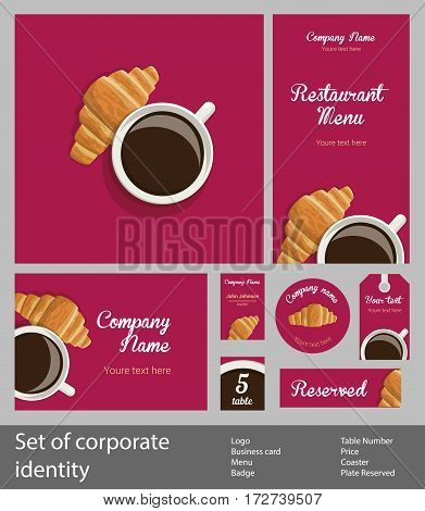 Set of corporate identity for restaurant, cafe or confectionery, business templates branding, white cup of coffee and fresh croissant on red background, top view, vector illustration