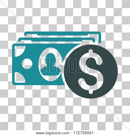Cash icon. Vector illustration style is flat iconic bicolor symbol, soft blue colors, transparent background. Designed for web and software interfaces.