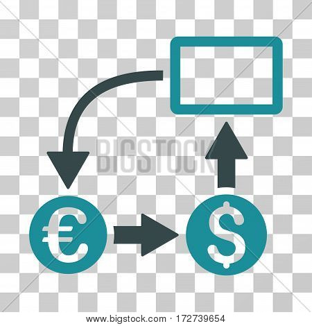 Cashflow Euro Exchange icon. Vector illustration style is flat iconic bicolor symbol, soft blue colors, transparent background. Designed for web and software interfaces.