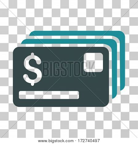 Credit Cards icon. Vector illustration style is flat iconic bicolor symbol, soft blue colors, transparent background. Designed for web and software interfaces.