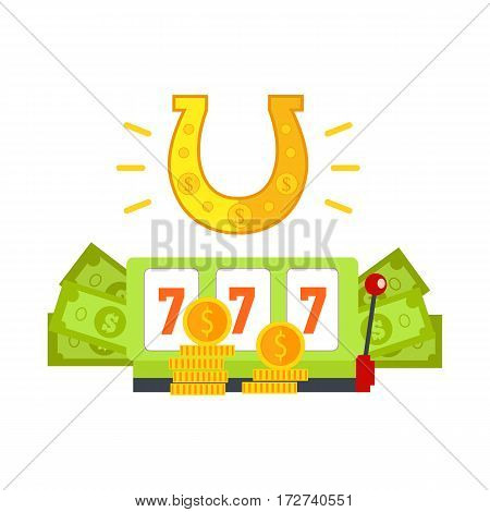Gambling concept vector banner in flat style. Horseshoe, slot machine with sevens, dollar bills and gold coins.  Illustration for gambling industry, sport lottery services, icons, web pages design.