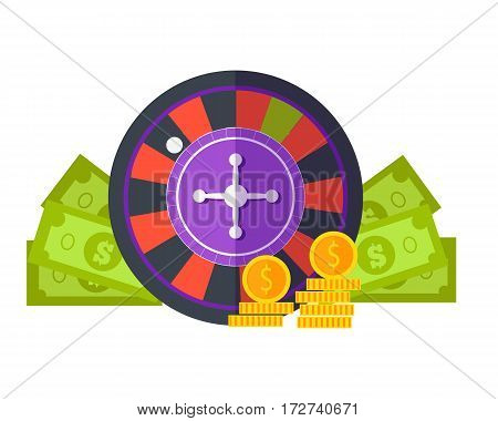 Gambling concept vector in flat style. Roulette, dollar bills, golden coins. Illustration for gambling industry, sport lottery services, icons, web pages, logo design. Isolated on white background.