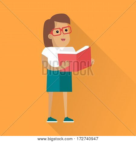 Reading book and learning people concept. Flat style. Human icon. Woman  character in glasses standing with a book in their hands. Self-education and gain knowledge. On orange background with shadow