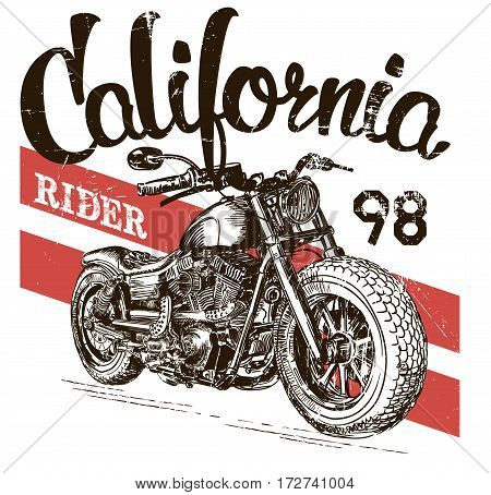 illustration sketch motorcycle california t shirt prints.
