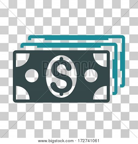 Dollar Banknotes icon. Vector illustration style is flat iconic bicolor symbol, soft blue colors, transparent background. Designed for web and software interfaces.